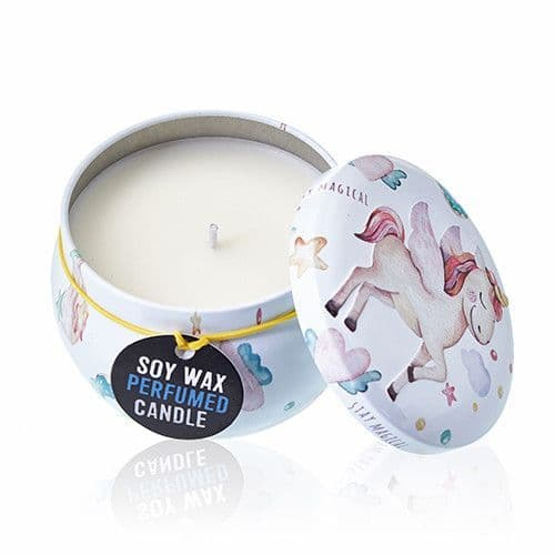 Art Tin Candle - Assorted Design - Unicorns - Moonstone